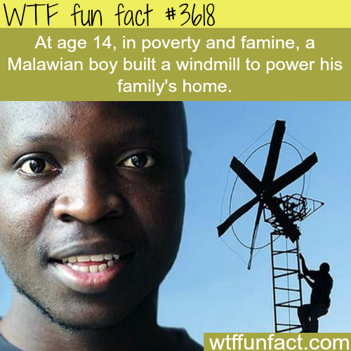 14 years old boy creates a windmill to power his home -  WTF fun facts