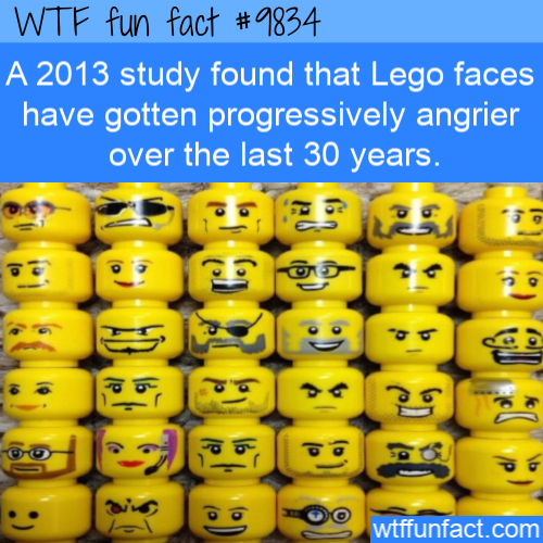 A 2013 study found that Lego faces have gotten progressively angrier over the last 30 years.