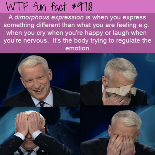 A dimorphous expression is when you express something different than what you are feeling e.g.  when you cry when you're happy or laugh when  you're nervous.  It's the body trying to regulate the emotion.