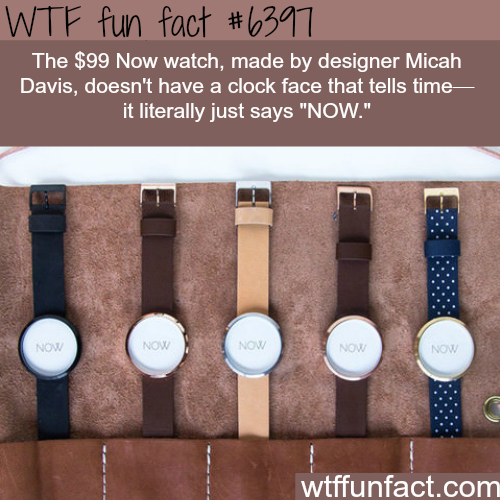 """A watch that just says """"NOW"""" - WTF fun facts"""