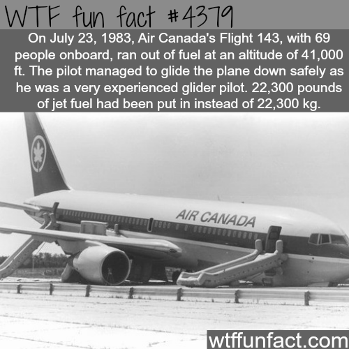 Air Canada's flight 143 disaster -   WTF fun facts