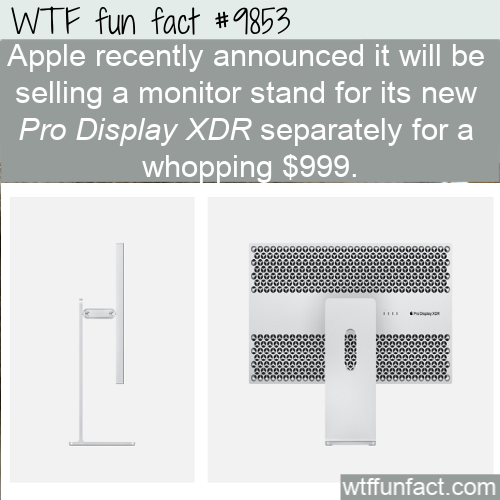 Apple recently announced it will be selling a monitor stand for its new Pro Display XDR separately for a whopping $999.