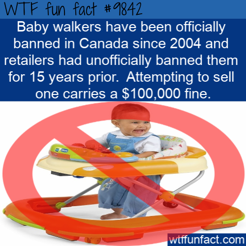 Baby walkers have been officially banned in Canada since 2004 and retailers had unofficially banned them for 15 years prior. Attempting to sell one carries a $100