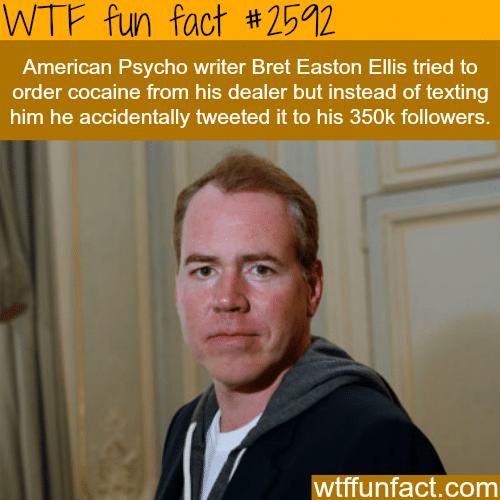 Bret Easton Ellis tweet about cocaine -WTF funfacts