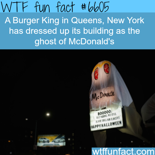Burger King dressed as McDonald's ghost - WTF fun facts