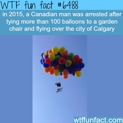 Canadian man arrested after he tied 100 balloons to a chair….- WTF fun facts