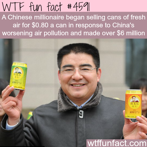 Cans of fresh air are sold in China for 80 cent -   WTF fun facts