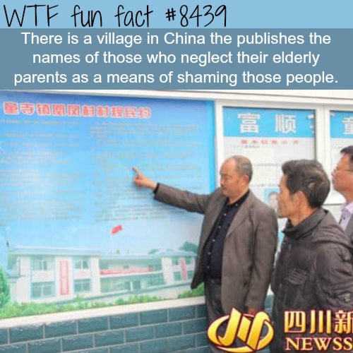 Chinese village name shaming people who neglect their parents - WTF fun facts