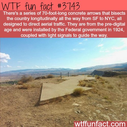 Concrete arrows from NYC to SF - WTF fun facts