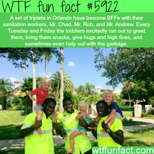 Cute triplets in Orlando are best friends with the sanitation workers - WTF fun facts