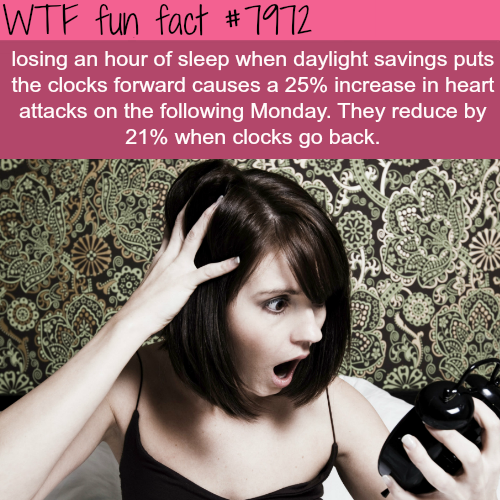 Daylight saving time causes an increase in heart attacks - WTF fun fact