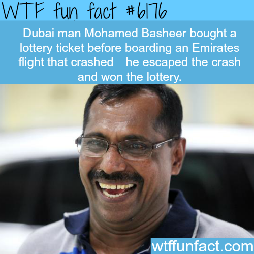Dubai man survies an airplane crash and wins lottery - WTF fun facts