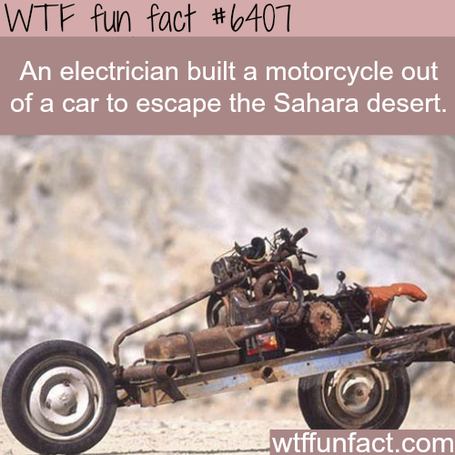 Electrician built a motorcycle out of a car - WTF fun facts