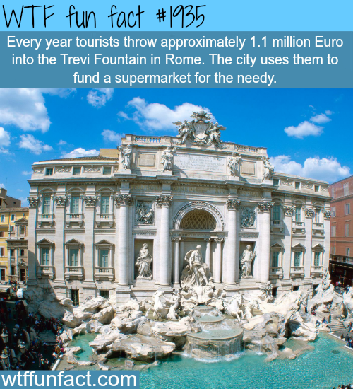 Every year tourists throw a million dollar in the Trevi Fountain -WTF fun facts