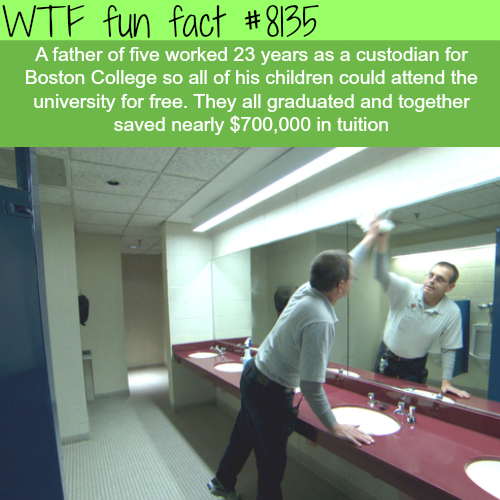 Father of 5 works in a college so his children get free college - WTF fun facts
