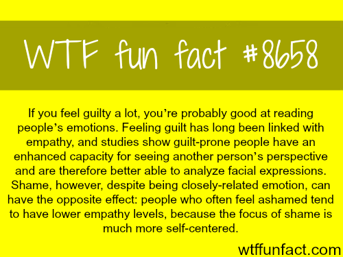 Feeling guilty a lot might be a good trait - WTF fun facts