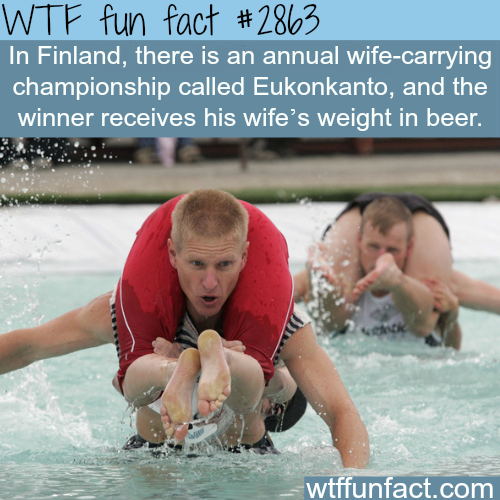 """Finland's Wife-carrying championship """"Eukonkanto"""" -WTF fun facts"""