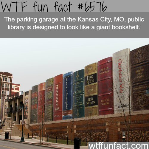 Garage of a public library in Kansas looks like a giant bookshelf