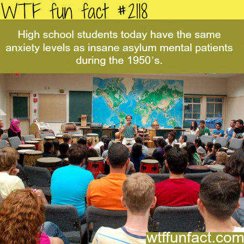 High School Student anxiety level - WTF fun facts