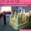 hogwarts model built from matchsticks