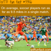 how long does a soccer player run in each match