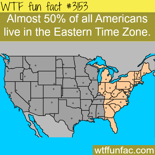 How many Americans lie in the Eastern Time Zone -WTF fun facts