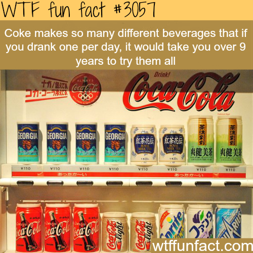 How many different beverages does coke make? -WTF fun facts