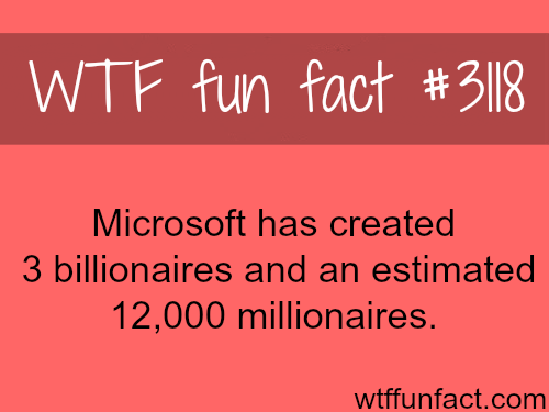 How many millionaires Microsoft has created -  WTF fun facts
