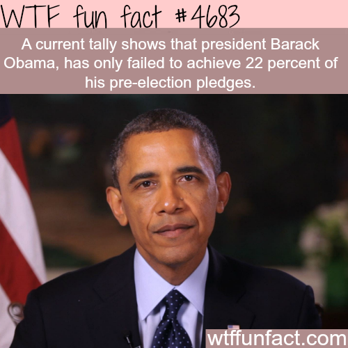 How many pledges did Obama fail to achieve - WTF fun facts