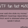i never said she stole my money wtf fun facts