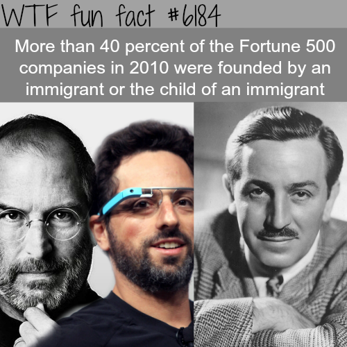 Immigrants founded 40 percent of Fortune 500 companies - WTF fun facts