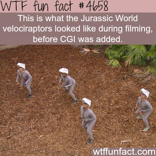 Jurassic World velociraptors before CGI - WTF fun facts