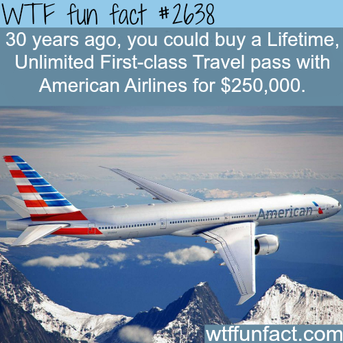 Lifetime Unlimited First-class travel pass -WTF funfacts