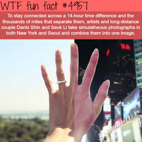 Long distance couple combine photos from NY and Seol - WTF fun facts