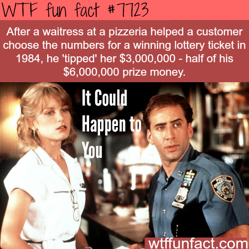 Lottery ticket winner tips a waitress 3 million dollars - WTF fun facts