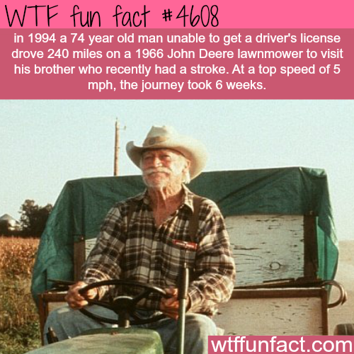 Man drives 240 miles in a John Deere Lawnmower -   WTF fun facts