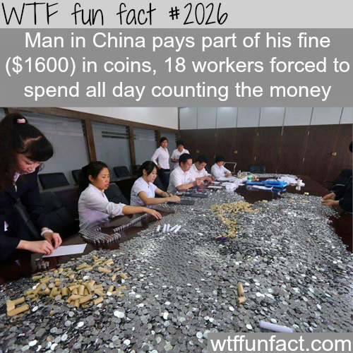 Man in China pays fine in coins - WTF fun facts