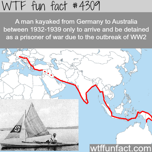 Man kayaked from Germany to Australia -  WTF fun facts