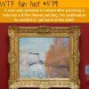 man punches a hole inside a monet painting worth