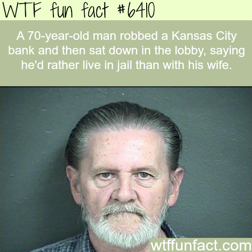 Man robs a bank to get away from his wife - WTF fun facts