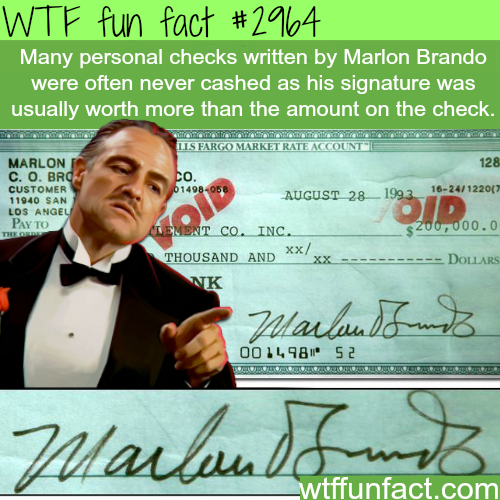 Marlon Brando signature -  WTF fun facts