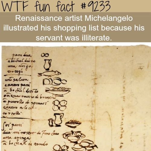 Michelangelo's shopping list - WTF fun fact