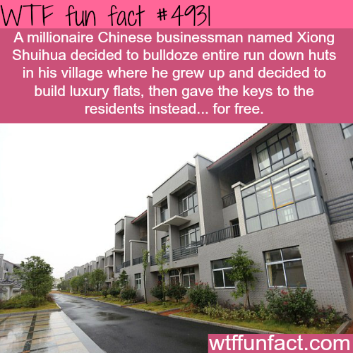 Millionaire Chinese man gives luxury flats for free - WTF fun facts