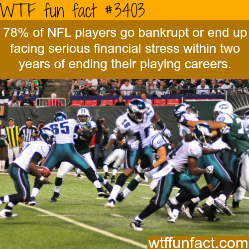 Most retired NFL players go bankrupt - WTF fun facts