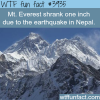 mt everest shrank one inch due to the nepal