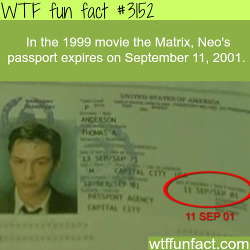 Neo's passport in the movie The Matrix -WTF fun facts