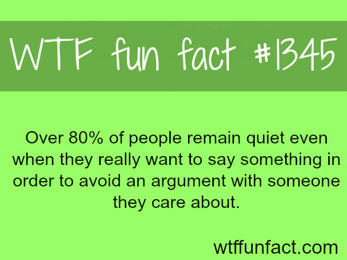 Over 80% of people remain quiet even when they really want to say something in order to avoid an argument with someone they care about.