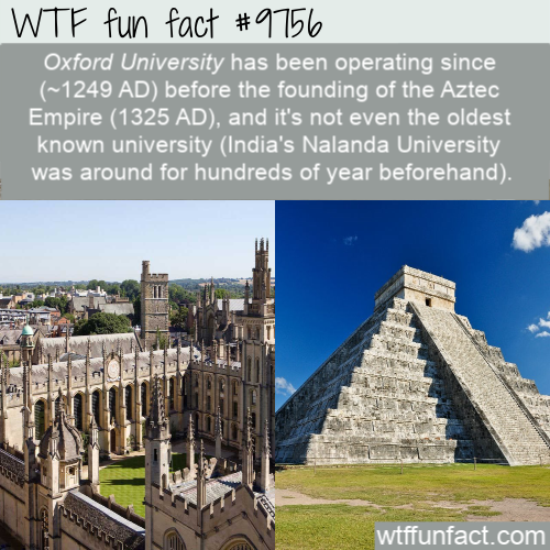 Oxford University has been operating since (~1249 AD) before the founding of the Aztec Empire (1325 AD)