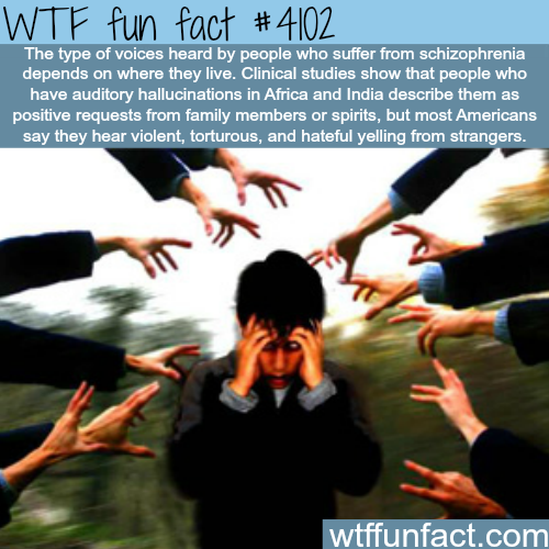 People who suffer schizophrenia hear different voices based on country - WTF fun facts