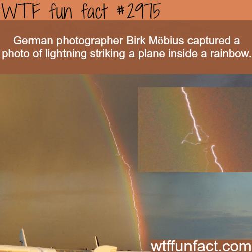 Photo of lightening striking a plane inside a rainbow -WTF fun facts